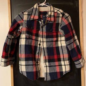 Gap fleeced lined plaid shirt/jacket
